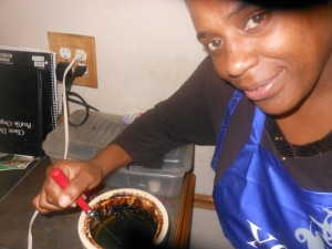 Allegra Mixing Up Her Concoction For Great Locs